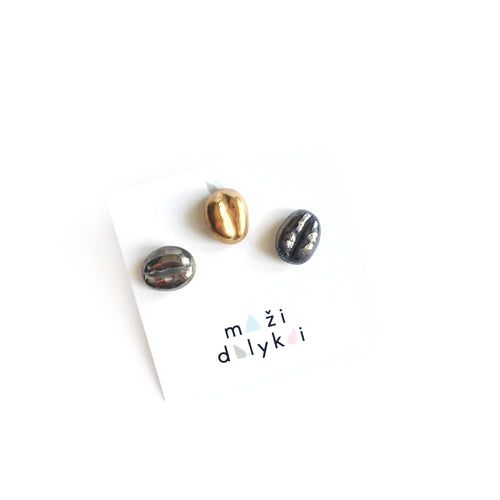 Three coffee beans earrings set