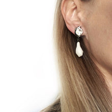 Load image into Gallery viewer, White porcelain earring, platinum