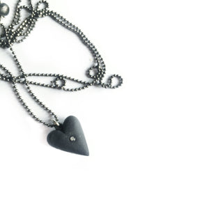 Black porcelain heart pendant