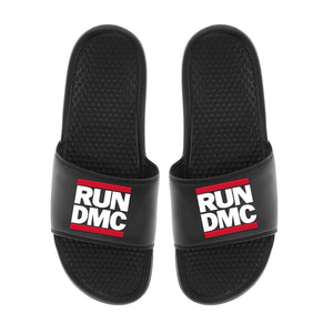 Run Dmc Logo - Mens Black Slides