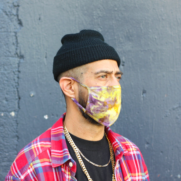 PURPLE & GOLD Tie Dye Face Mask