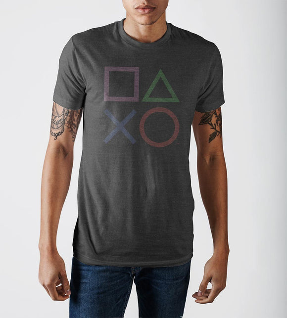 Sony Playstation Buttons Charcoal Soft Hand Print Tee