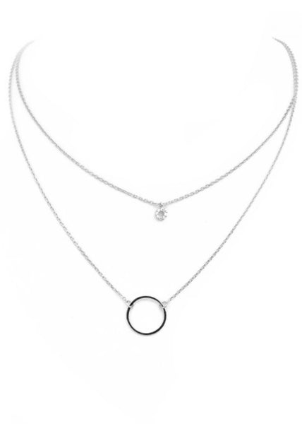Open Circle Layer Necklace - Silver