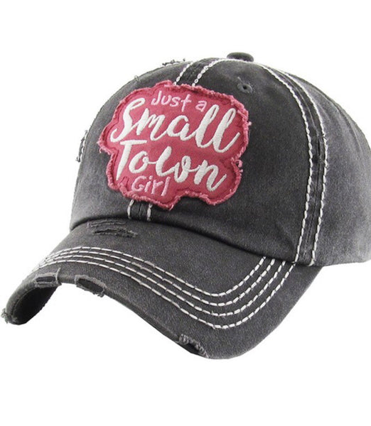 027e742865f2b Just A Small Town Girl Vintage Baseball Cap Hat - Black