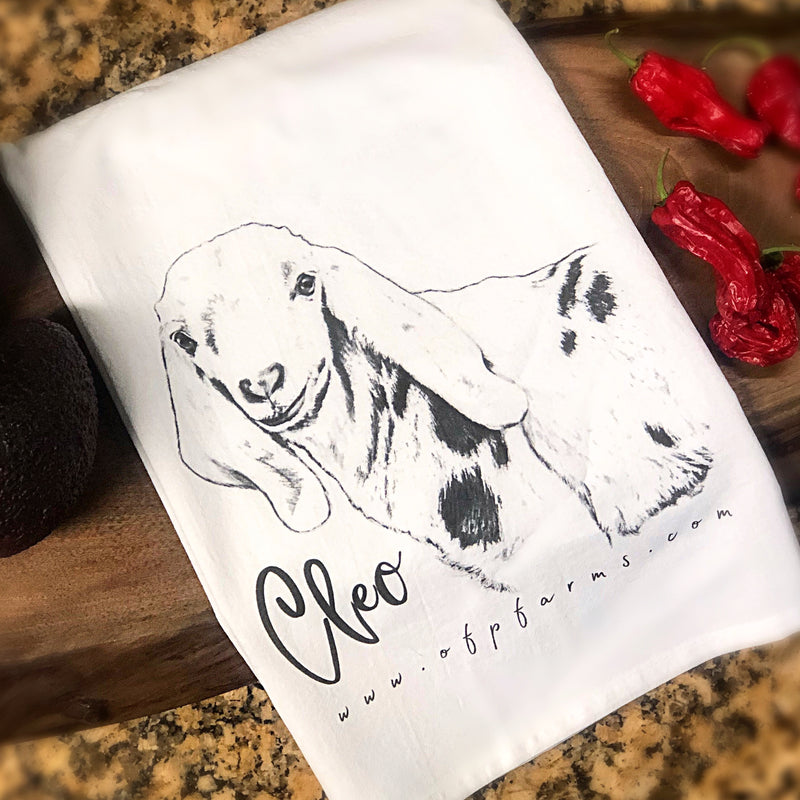 Farm Collection Tea Towel , Cleo the Goat