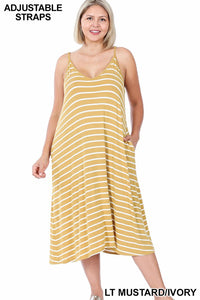 The Stripe Appeal Maxi Dress-Light Mustard (All Sizes)