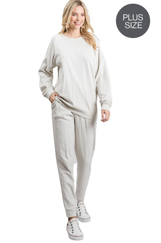 Bone Loungewear Set (top & bottom) (1X to 3X)