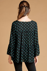 Black & Green Polka Dot Top-(Small to Large)
