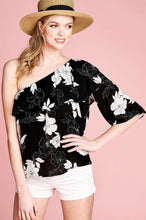Load image into Gallery viewer, Black & White Floral One Shoulder Blouse