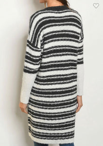 Charcoal & Ivory Striped Cardigan Sweater