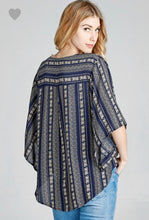 Load image into Gallery viewer, Navy Striped Kimono Top
