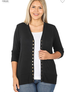 Up Your Game Snap Button Cardigan-(All Sizes)