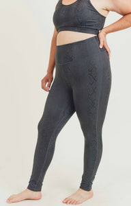Black Mamba Foil Print Leggings-ALL SIZES