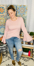 Load image into Gallery viewer, Pretty In Pink Striped Bell Sleeve Top