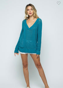Teal With It Babe Sweater-(S/M or M/L)