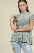 Load image into Gallery viewer, Dusty Mint Lace Top