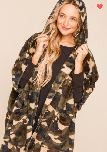 Camouflage Sherpa Poncho-ALL SIZES