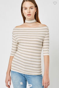 Striped Cream Choker Off Shoulder Top