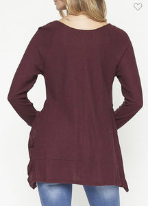 Wine Not Ruffle Side Top-Small to Large
