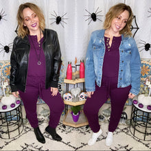 Load image into Gallery viewer, Not Your Basic Chick Jogger Jumpsuit-Dark Plum-Small to 3X