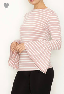 Pretty In Pink Striped Bell Sleeve Top