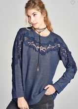 Load image into Gallery viewer, Navy Crochet Lace Top-(Small to Large)