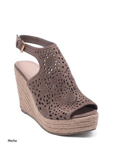 Emery Mocha Perforated Wedge Sandal