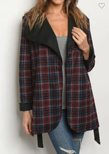Load image into Gallery viewer, Burgundy Plaid Jacket