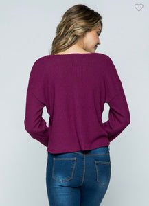 Plum Waffle Knit Top-Small to Large