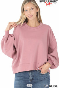 Chill Piece Balloon Sleeve Sweatshirt-Light Rose-(All Sizes)