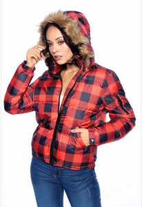 Buffalo Plaid Puffer Jacket-Small to XL