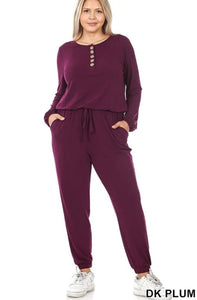 Not Your Basic Chick Jogger Jumpsuit-Dark Plum-Small to 3X