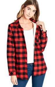 Red Fleece Plaid Flannel Shirt-Small to XL