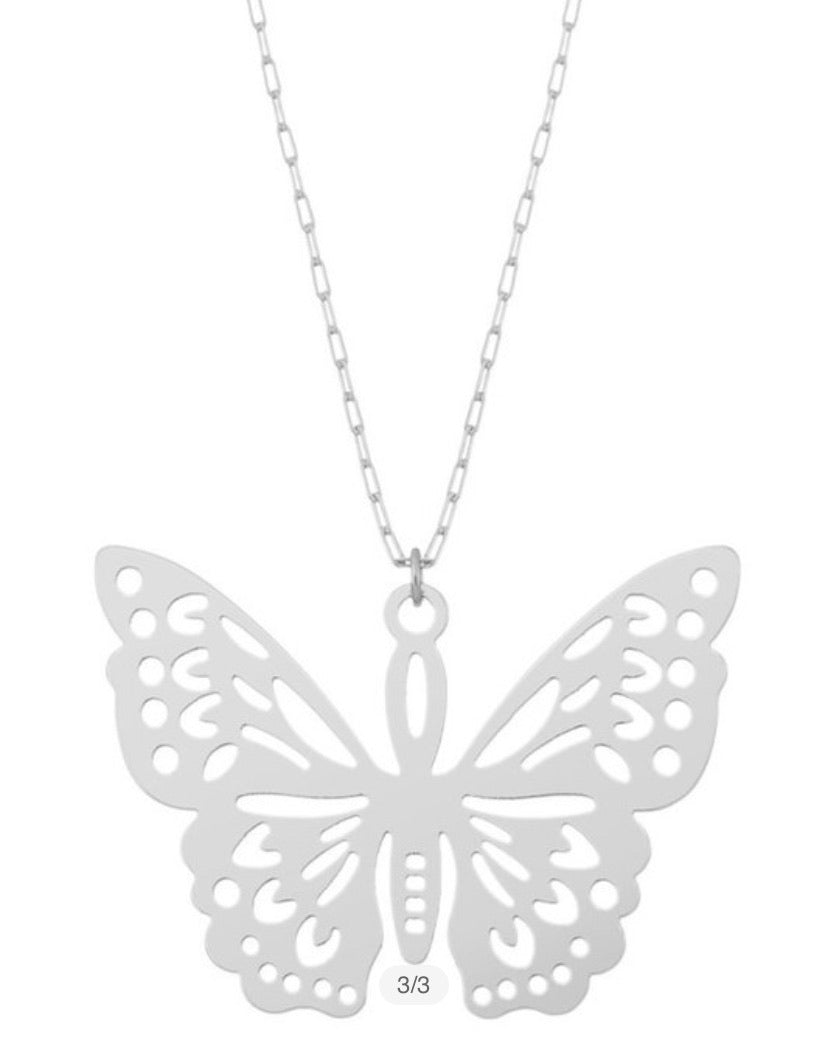 Butterfly Necklace-(Silver or Gold)