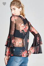 Load image into Gallery viewer, Sheer Black Floral Bell Sleeve Top