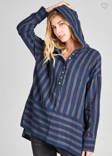 Striped Hoodie Top-(Small to Large)