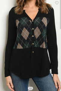 First Class Plaid Top-(Small to Large)