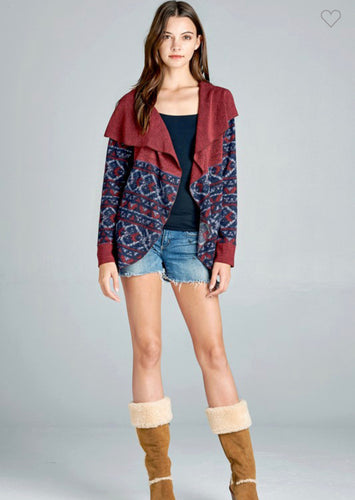 Tribal Print Cardigan-(Small to Large)