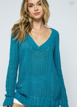 Load image into Gallery viewer, Teal With It Babe Sweater-(S/M or M/L)
