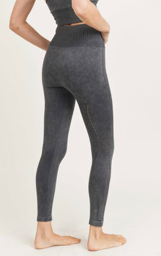 Black Mineral Washed Mono B Leggings-(ALL SIZES)