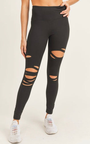 She's A Warrior Black Mono B Leggings-(ALL SIZES)