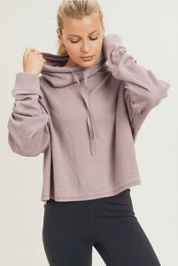 Mineral Washed Cowl Neck Hoodie-(Small to Large)