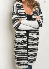 Load image into Gallery viewer, Charcoal & Ivory Striped Cardigan Sweater