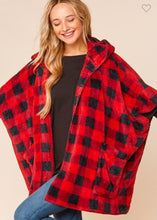 Load image into Gallery viewer, Plaid Sherpa Poncho-(S/M to M/L)