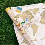 SCRATCH OFF WORLD MAP GOLD in tube
