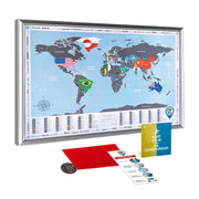 FRAMED SCRATCH OFF WORLD MAP FLAGS EDITION