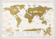 FRAMED SCRATCH OFF WORLD MAP GOLD