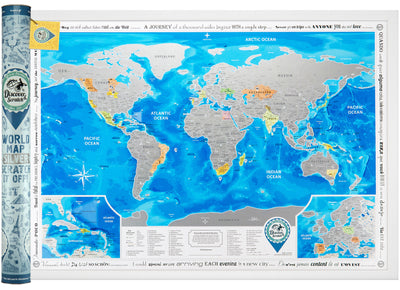 SCRATCH OFF WORLD MAP SILVER in tube