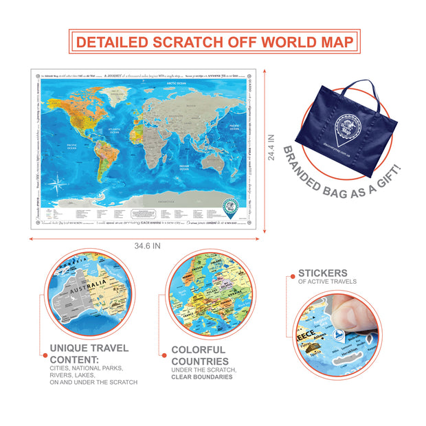 FRAMED SCRATCH OFF WORLD MAP SILVER