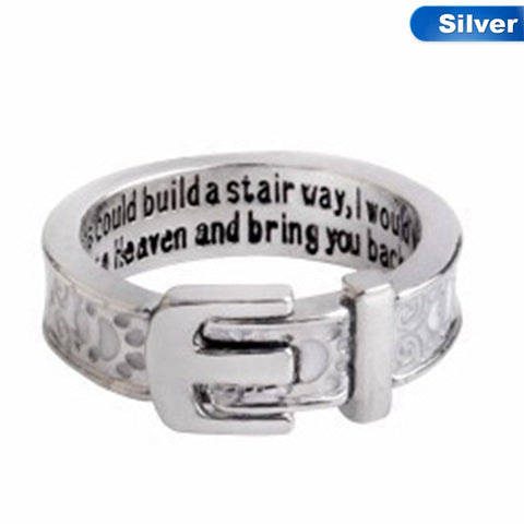 """If tears could build a stairway, I would walk right up to Heaven and bring you back again"" Belt Buckle Dog/Cat paw Memory Ring"